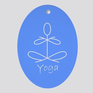 Yoga in Baby Blue Ornament (Oval)