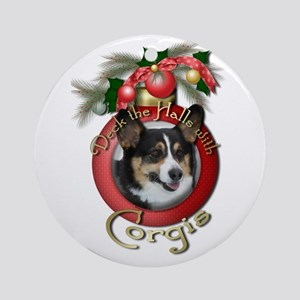 Christmas - Deck the Halls - Corgis Ornament (Roun