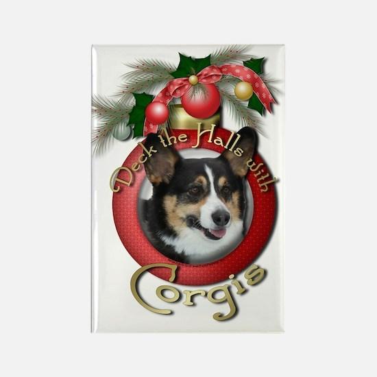 Christmas - Deck the Halls - Corgis Rectangle Magn