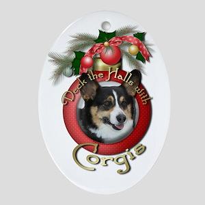 Christmas - Deck the Halls - Corgis Ornament (Oval