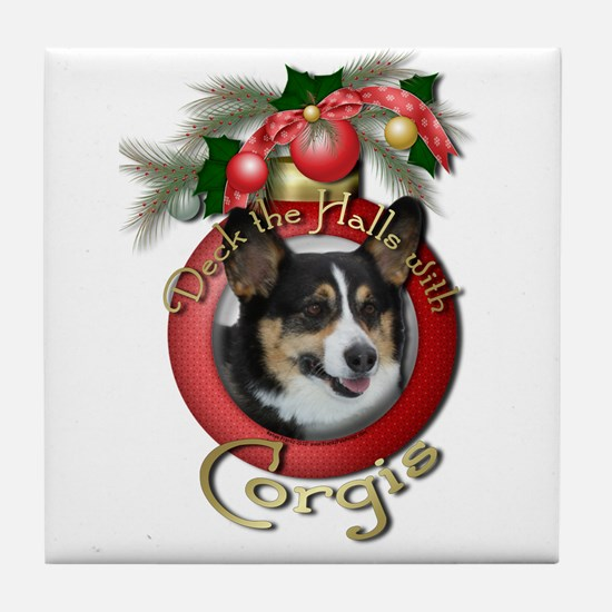 Christmas - Deck the Halls - Corgis Tile Coaster