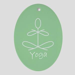 Yoga Glee in Green Ornament (Oval)