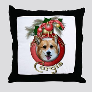 Christmas - Deck the Halls - Corgis Throw Pillow