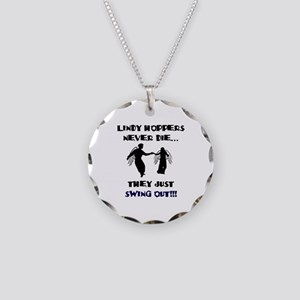 Lindy Hoppers Never Die Necklace Circle Charm