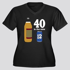 40 is the New 12 Women's Plus Size V-Neck Dark T-S