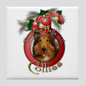 Christmas - Deck the Halls - Collies Tile Coaster