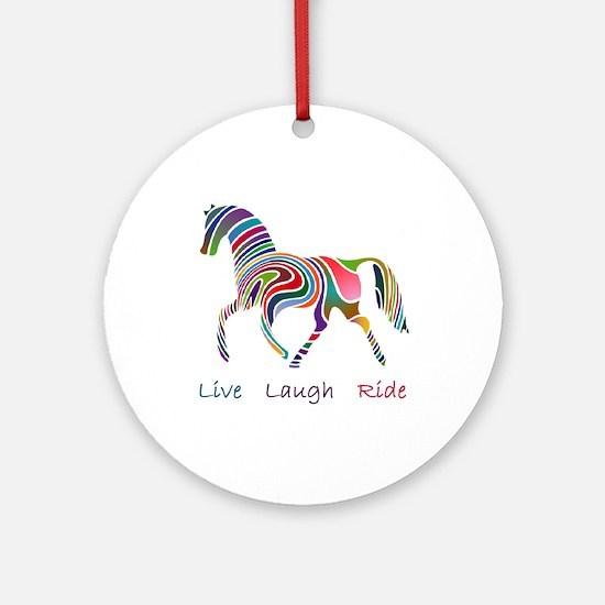 Rainbow horse gift Ornament (Round)