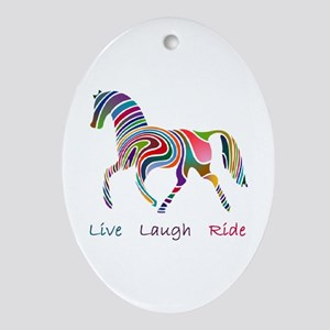 Rainbow horse gift Ornament (Oval)