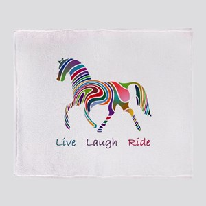 Rainbow horse gift Throw Blanket