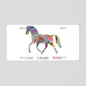 Rainbow horse gift Aluminum License Plate