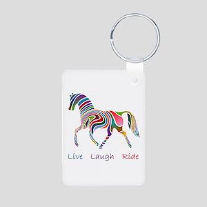 Rainbow horse gift Aluminum Photo Keychain