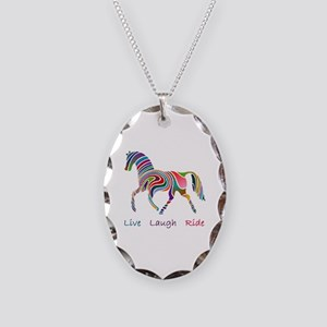 Rainbow horse gift Necklace Oval Charm
