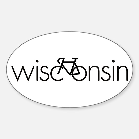 Bike Wisconsin Sticker (Oval)