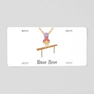 gymnast on beam Aluminum License Plate