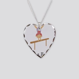 gymnast on beam Necklace Heart Charm