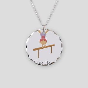 gymnast on beam Necklace Circle Charm