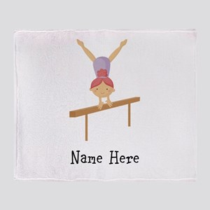 gymnast on beam Throw Blanket