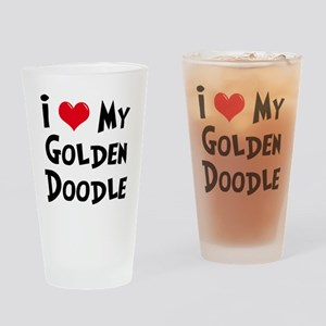 I Love My Golden Doodle Drinking Glass