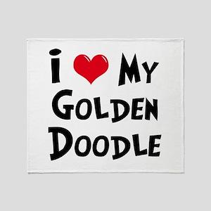 I Love My Golden Doodle Throw Blanket