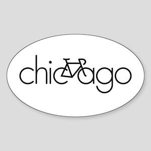 Bike Chicago Sticker (Oval)