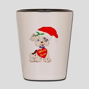 Cute Santa Xmas Puppy Dog Shot Glass