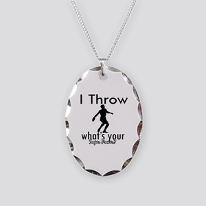 I Throw Necklace Oval Charm