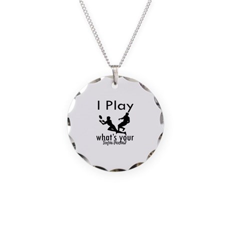 I Play Necklace Circle Charm