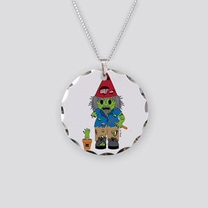 Zombie Gnome Necklace Circle Charm
