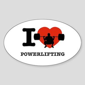 I love Power lifting Sticker (Oval)
