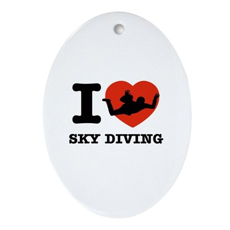 I love Sky diving Ornament (Oval)