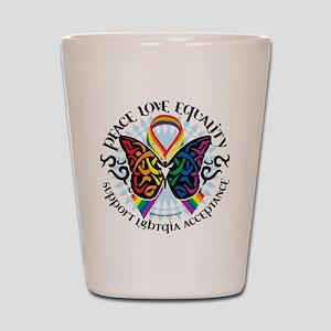 LGBT Peace Love Equality Shot Glass