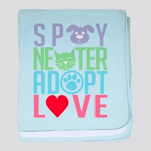Spay Neuter Adopt Love 2 baby blanket