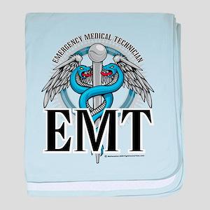 EMT Caduceus Blue baby blanket