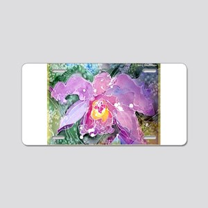 Purple Orchid, art, Aluminum License Plate