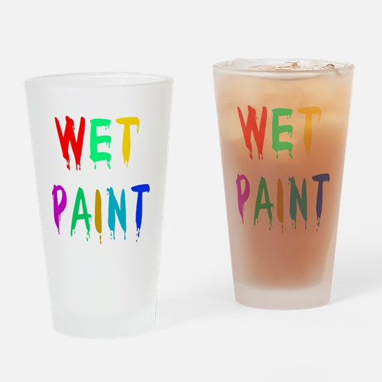 WET PAINT Drinking Glass