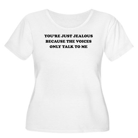 Voices Jealous Women's Plus Size Scoop Neck T-Shir