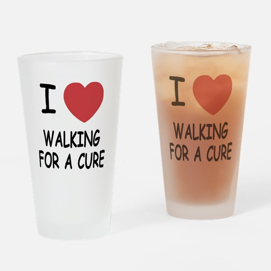 i heart walking for a cure Drinking Glass