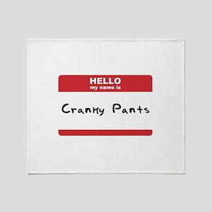 Hello My Name Is Cranky Pants Throw Blanket
