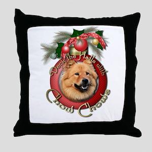 Christmas - Deck the Halls - Chows Throw Pillow