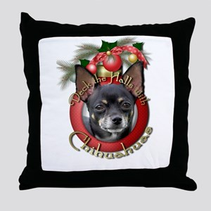Christmas - Deck the Halls - Chihuahuas Throw Pill