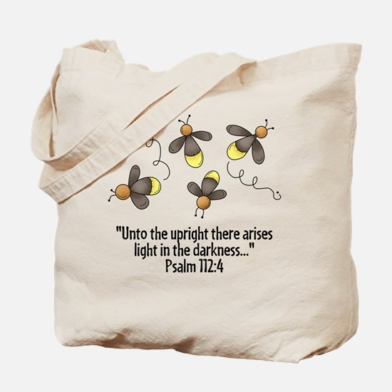 Fireflies & Bible Scripture Tote Bag