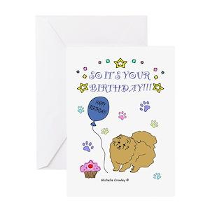 Pomeranian Birthday Greeting Cards Cafepress