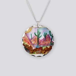 Colorful, Desert, art, Necklace Circle Charm