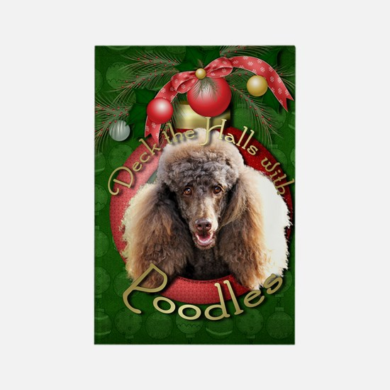 Christmas - Deck the Halls - Poodles Rectangle Mag