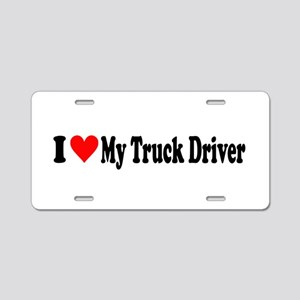 I Heart My Truck Driver Aluminum License Plate