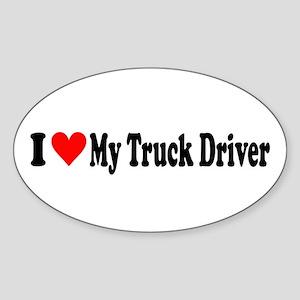 I Heart My Truck Driver Sticker (Oval)