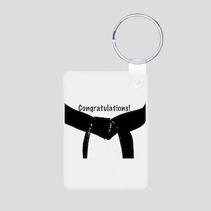 Black Belt Congrats Aluminum Photo Keychain