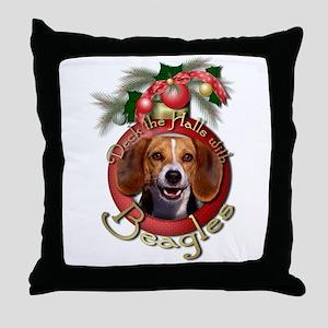 Christmas - Deck the Halls - Beagles Throw Pillow