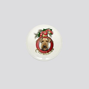 Christmas - Deck the Halls - Airedales Mini Button