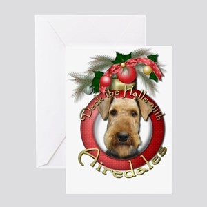 Christmas - Deck the Halls - Airedales Greeting Ca